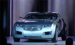 The Chevrolet Volt concept car on display during the press preview days at the North American International Auto show Jan. 7, 2007 in Detroit, Mich.