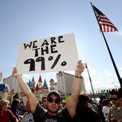 Protestors respond to the U.S. economic recession.