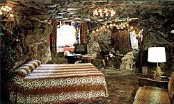 Feel like Fred Flintstone when you crash in the Caveman room at the Madonna Inn.