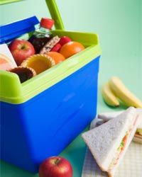 A cooler is essential travel gear for any road trip. Stop at grocery stores to replenish your snack stash along your route instead of convenience stores  -- it's cheaper!