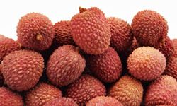 The outside of a lychee is red and scaly, but the inside is white and creamy.