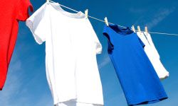 Clean, fresh-smelling laundry hangs out to dry.