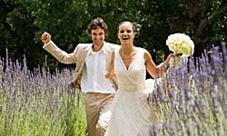 Complement your bouquet with bold, untamed arrangements of lavender stalks, daisies and long grasses.