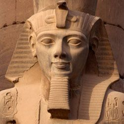 False beards like the one this statue of Rameses II is sporting were popular in ancient Egypt.