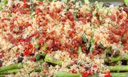 Don't be afraid to get creative with your toppings. This baker of this asparagus casserole, for example, used breadcrumbs and bacon to top the dish.