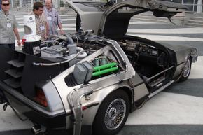 """""""Back to the Future"""" DeLoreans draw a crowd wherever they go."""