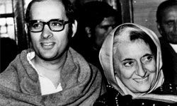 Late Indian Prime Minister Indira Gandhi and her younger son and chief political adviser, Sanjay.