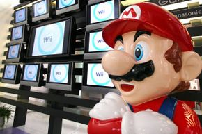 Super Mario stands at a showroom in Tokyo on Jan. 25, 2007, years before Andrew Gardikis would blow through his record-setting game in under five minutes.