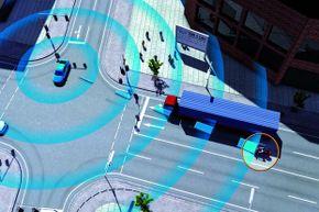 Audi's CAR2CAR communication system (collision warning shown)