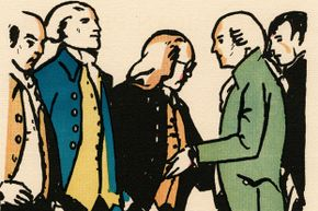 Some Revolutionary-era VIPs: From left to right, John Adams, Thomas Jefferson, Benjamin Franklin, Robert R. Livingston, and Roger Sherman are pictured in this 1926 woodcut by George Illian.