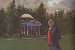 Jefferson strolls (or plods?) about the grounds of Monticello, his famed estate that would not provide much financial relief.