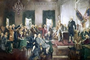 The scene at the Constitutional Convention, as painted by Howard Chandler Christy in 1910.