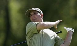 Oops! Golfer Hunter Haas loses grip on his club at the New Zealand PGA Championship.