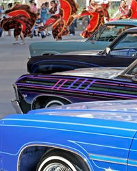 Custom Car Image Gallery Mexican dancers and musicians perform near a display of customized lowrider automobiles in Anaheim, Calif. See custom car pictures.