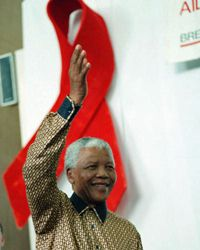 Former South African President Nelson Mandela appears at an AIDS awareness meeting in Cape Town on Sept. 24, 2009, in commemoration of International Women's Day.