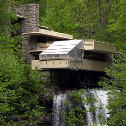 Frank Lloyd Wright designed Fallingwater, which was completed in 1939 and sits over a waterfall in Pennsylvania.