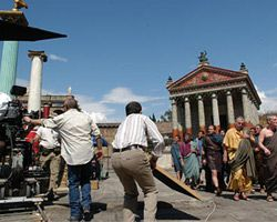 Filmmakers shoot a scene set in ancient Rome. See more movie making pictures.