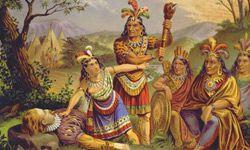 Pocahontas is depicted here saving John Smith'slife.