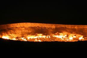 The Darvaza gas crater burns through the night.