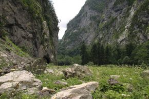 The entrance to Krubera Cave is buried within the Western Caucasus mountain range in the Abkhazia region of Georgia.