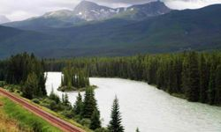 Canadian rail travelers can catch a glimpse of some beautiful views, like this one in Banff National Park.