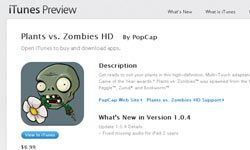 """At Apple's """"Plants vs. Zombies"""" preview page, iPad owners can see screen captures, read customer reviews and find out what's been updated in the latest version of the game."""