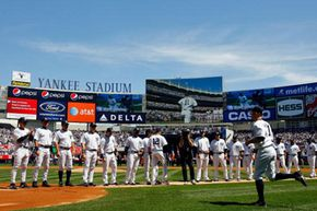 The screen at Yankees stadium, seen here on April 16, 2009 in a game against the Cleveland Indians, isn't the biggest, but it's still a huge HDTV.