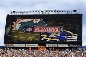 When it was first activated, this was the biggest HDTV in the world. This photo was taken at a 2008 playoff game between the Miami Dolphins and Baltimore Ravens, Jan. 4, 2009.