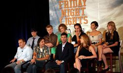 """The cast of """"Friday Night Lights"""" gathered to speak at the NBC Universal 2008 Summer Television Critics Association press tour in California."""