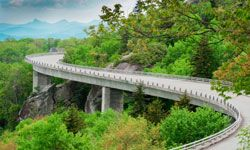 Don't miss the Linn Cove Viaduct, one of the most beautiful spots on the long and winding Blue Ridge Parkway.