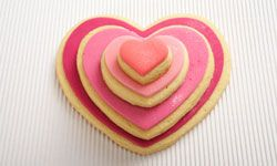 Cookies also make great wedding favors. This stack of graduated heart-shaped cookies would look sweet tied up in tissue or cellophane.