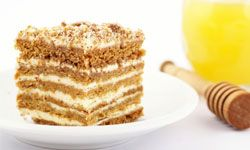 A honey-flavored cake is a sweet and unexpected surprise at a wedding reception.