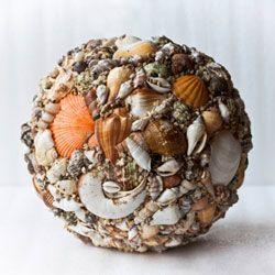 Glue little shells around a foam ball for a unique piece of decor.