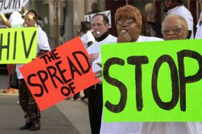 Los Angeles residents participate in a rally for National Black HIV/AIDS Awareness Day on Feb. 7, 2002. According to the World Health Organization, more than 1.7 million people died of AIDS-related illnesses in 2011.