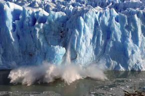 Splinters of ice peel off from one side of the Perito Moreno glacier in southern Argentina in 2008. Dumping iron dust in the seas or placing smoke and mirrors in the sky to dim the sun could curb global warming, say backers of geoengineering.