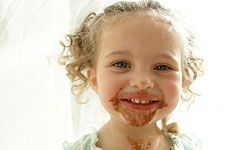 Chocolate on a face is one thing. On a wedding gown, it's another.