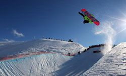 Janne Korpi of Finland competes in the Men's Snowboard Halfpipe during day five of the Winter Games.