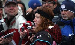 Snowboarding's poster boy Shaun White is interviewed after winning the finals of the halfpipe portion of the FIS Snowboard World Cup in February 2009.