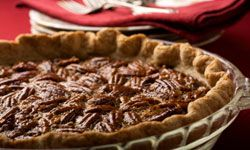 Pecan pie often shows up at Thanksgiving and Christmas.