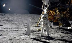 Buzz Aldrin, lunar module pilot of the Apollo 11 mission, walks on the moon. This photo was taken by fellow astronaut Neil Armstrong.