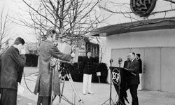 RCA Chairman of the Board David Sarnoff dedicates the RCA Building at the World's Fair in New York in 1939.