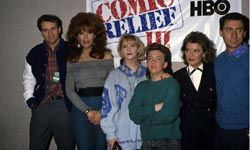 """Katey Sagal (second from left) in full Peggy Bundy regalia, surrounded by the cast of """"Married with Children"""" at Comic Relief 3, in 1989"""