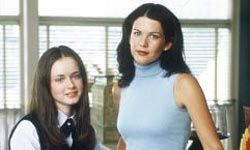 """Alexis Bledel (left) and Lauren Graham played daughter and mother in the TV series """"The Gilmore Girls."""""""