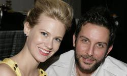 """Actress January Jones (left) at the """"Academy of Television Arts & Sciences Presents An Evening with 'Mad Men'"""" event in 2008."""
