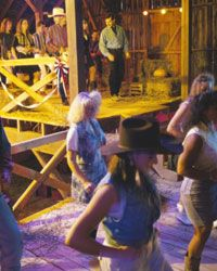 You know it's a country-western party if it takes place in a barn.