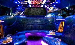 No, this isn't a picture of a bar in some funky club -- it's the interior of a limousine!