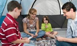 Card games keep campers busy during inclement weather or quiet time.
