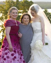 Hillary Clinton swapped her trademark pantsuit for a beautiful dress on Chelsea's wedding day.