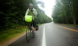 Descending the Kancamagus Highway near Lincoln, N.H. during a downpour