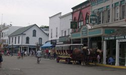 Mackinac Island's main street is best seen from atop a carriage or bike.